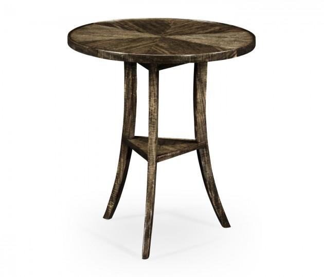Dark Driftwood Round Lamp Table