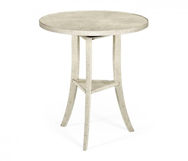 Whitewash Driftwood Round Lamp Table