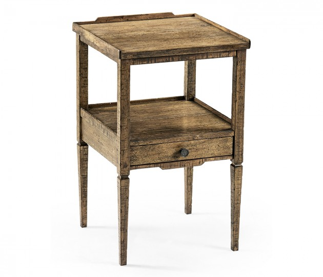 Medium Driftwood Square Lamp Table with Drawer