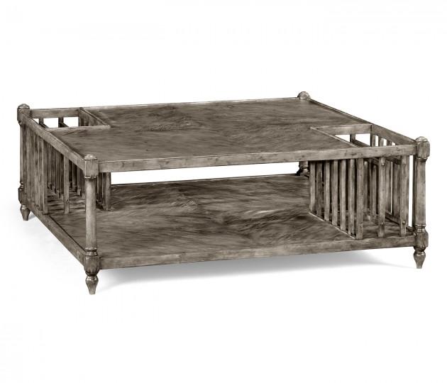 Antique Dark Grey Square Coffee Table with Magazine Rack