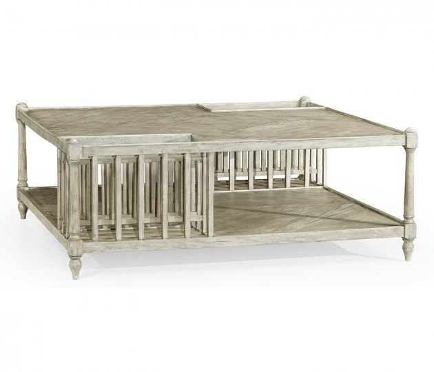 Rustic Grey Square Coffee Table with Magazine Rack