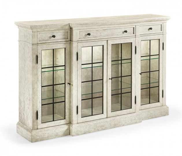 Whitewash Driftwood Four Door China Display Cabinet