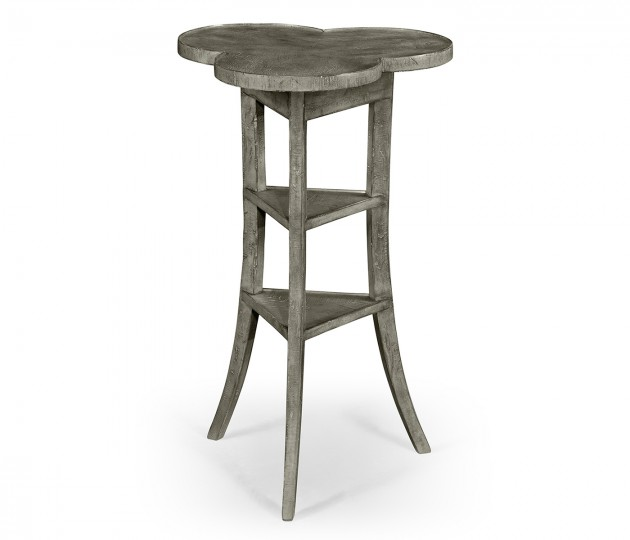 Trefoil Side Table in Antique Dark Grey