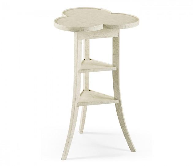 Trefoil Side Table in Whitewash Driftwood