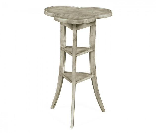 Trefoil Side Table with Rustic Grey
