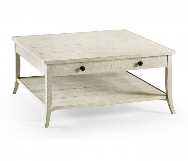 Square Coffee Table in Whitewash Driftwood