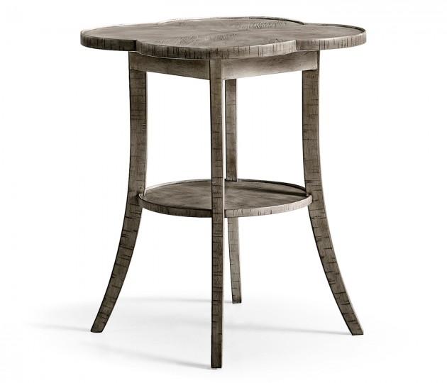 Quatrefoil Lamp Table in Antique Dark Grey