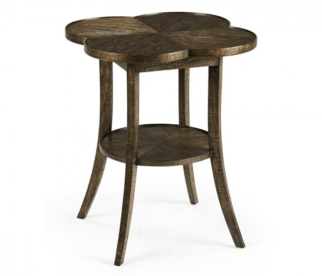 Quatrefoil Lamp Table in Dark Driftwood