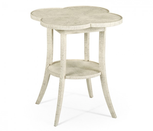 Quatrefoil Lamp Table in Whitewash Driftwood