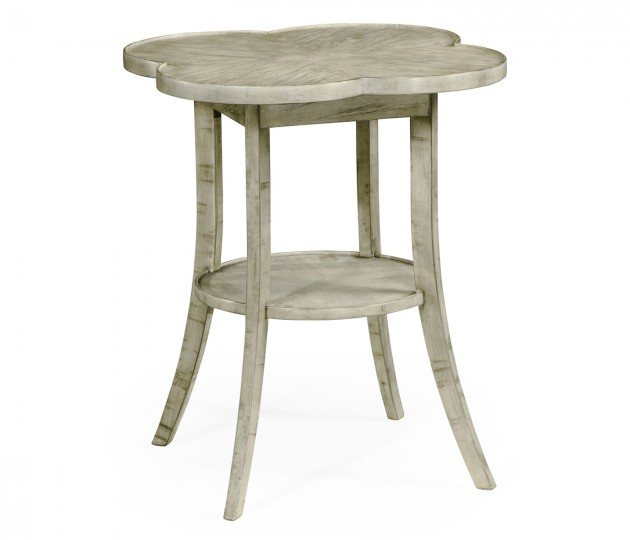 Quatrefoil Lamp Table in Rustic Grey