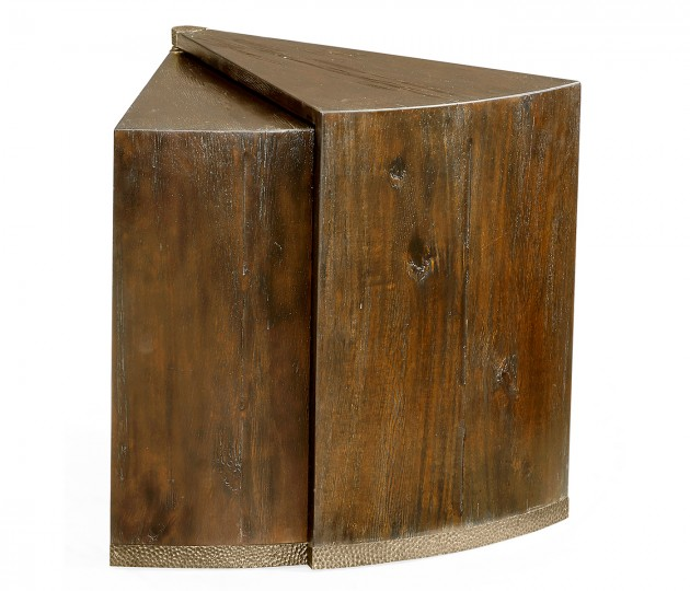 Country Walnut Semicircular Retracting Side Table