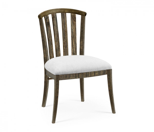 Dark Driftwood Curved Back Side Chair, Upholstered in COM
