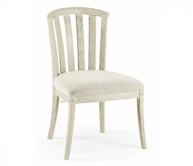 Country Style Whitewash Driftwood Curved Back Side Chair, Upholstered in Shambala