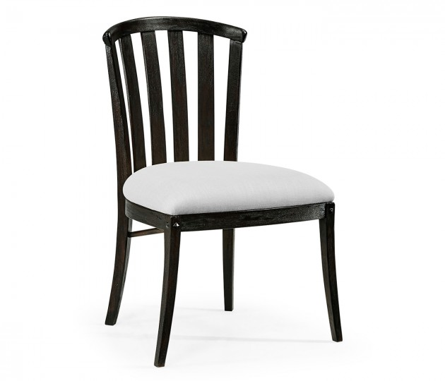 Dark Ale Style Curved Back Side Chair, Upholstered in COM