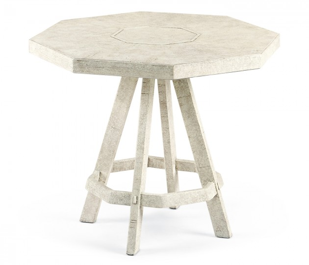 Whitewash Driftwood Side Table with Octagonal Top