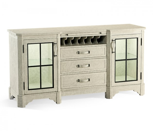 Plank Whitewash Driftwood Low Cabinet & Wine Rack with Strap Handles