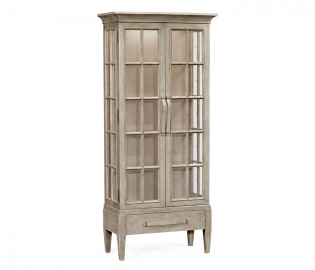 Tall Rustic Grey Plank Glazed Display Cabinet