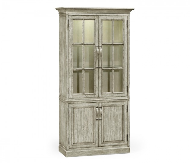 Plank Rustic Grey Tall Bookcase with Strap Handles