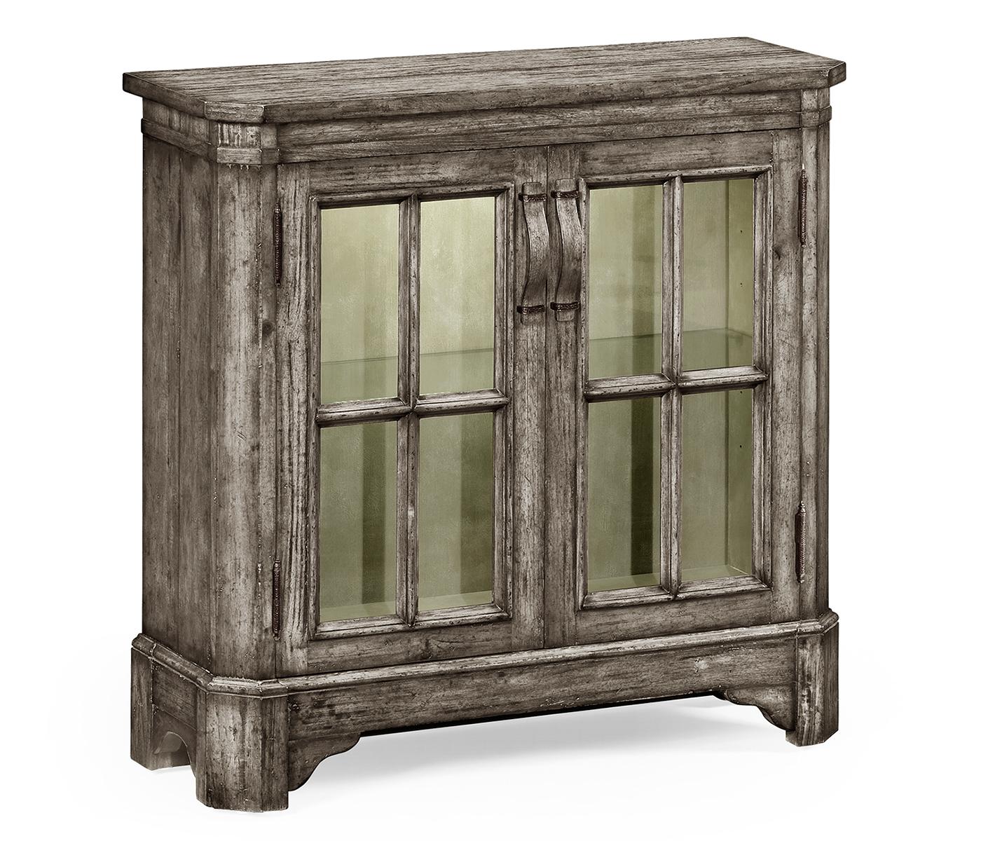 Antique Dark Grey Low Bookcase With Strap Handles