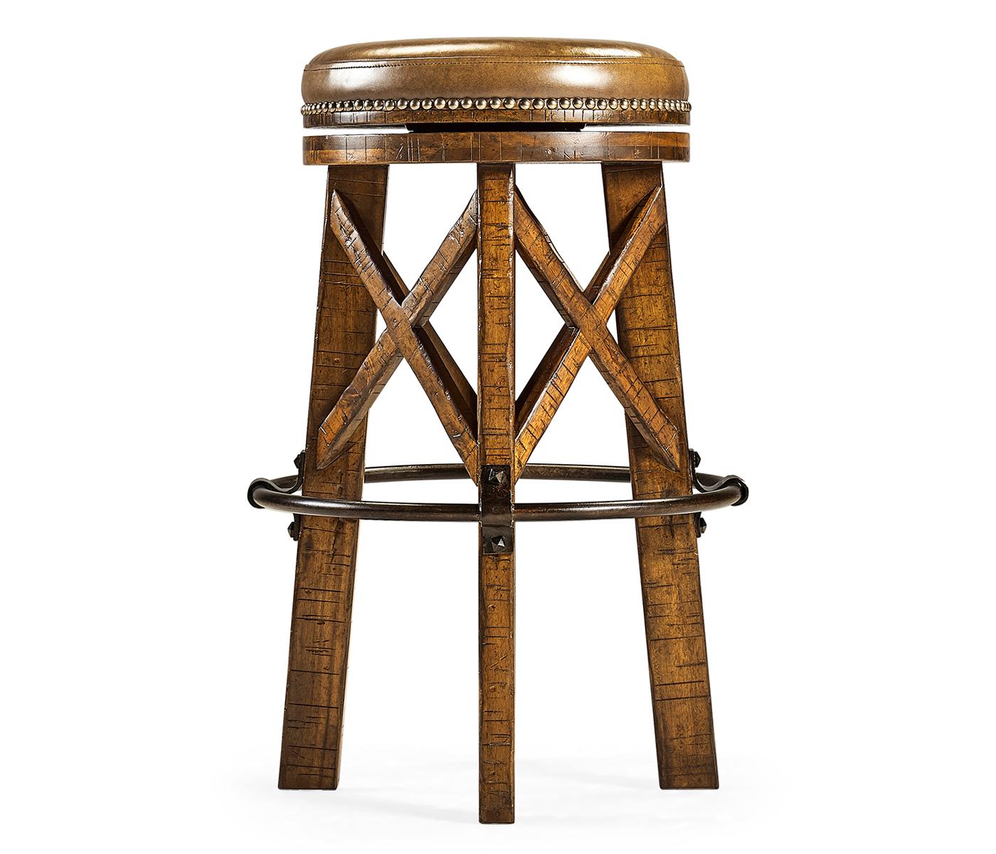 Super Country Style Walnut Iron Bar Stool With Antque Chestnut Machost Co Dining Chair Design Ideas Machostcouk