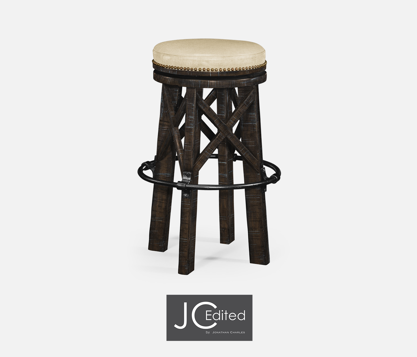Incredible Country Style Dark Ale Iron Bar Stool Upholstered In Mazo Alphanode Cool Chair Designs And Ideas Alphanodeonline