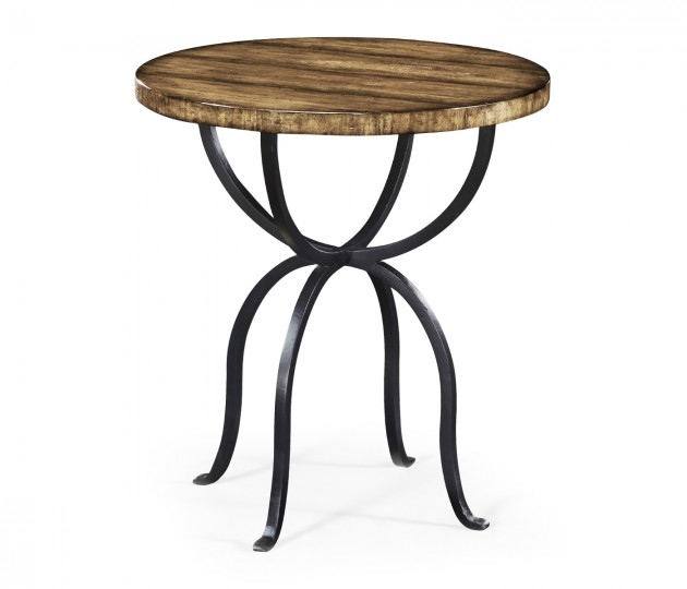 Round Medium Driftwood Side Table with Wrought Iron Base