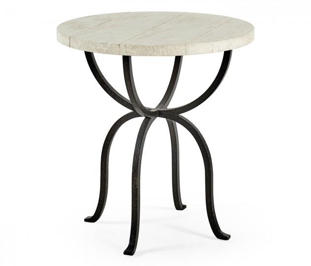 Round Whitewash Driftwood Side Table with Wrought Iron Base