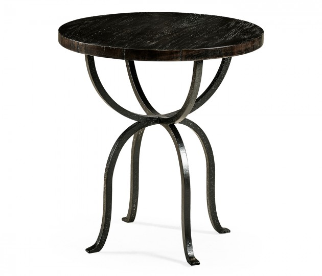 Round Dark Ale & Iron Side Table