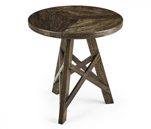 Rustic Circular Planked Dark  Driftwood Lamp Table