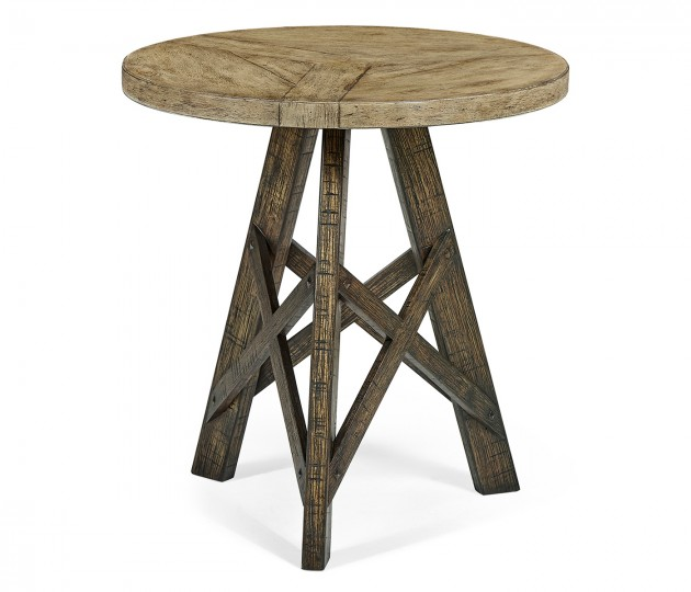 Rustic Circular Planked Light & Dark Driftwood Lamp Table