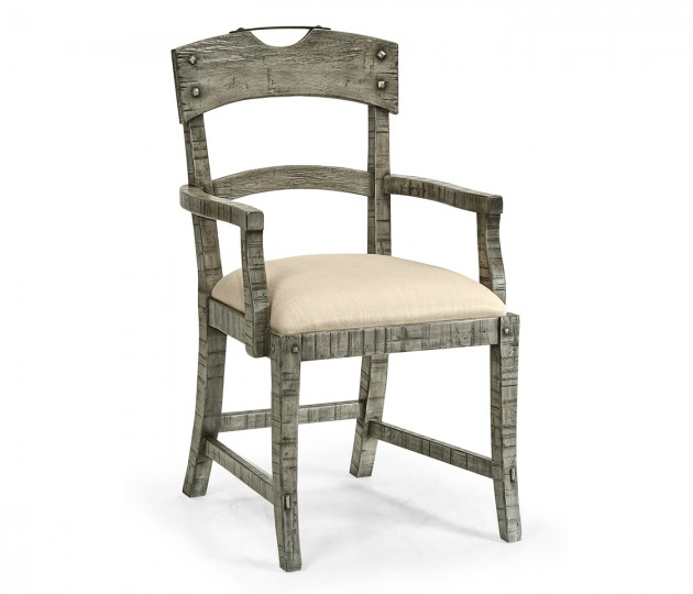 Planked Antique Dark Grey Armchair, Upholstered in MAZO