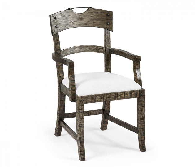 Planked Dark Driftwood Dining Arm Chair, Upholstered in COM