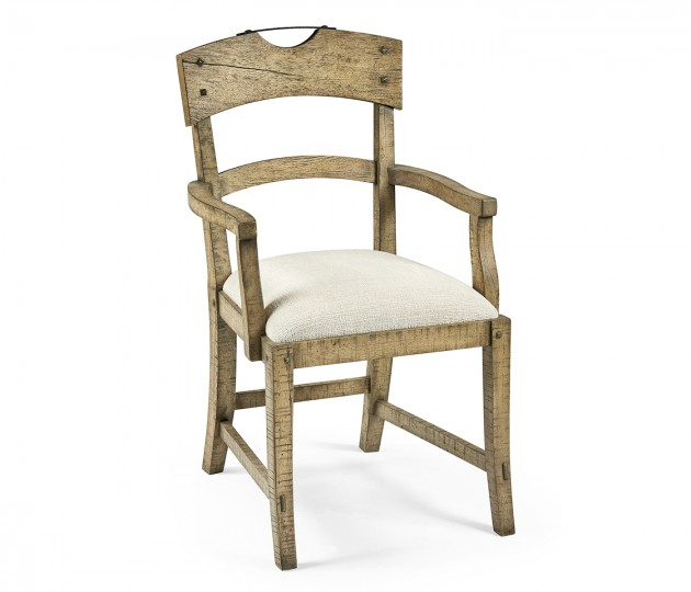 Planked Light Driftwood Dining Arm Chair, Upholstered in Shambala