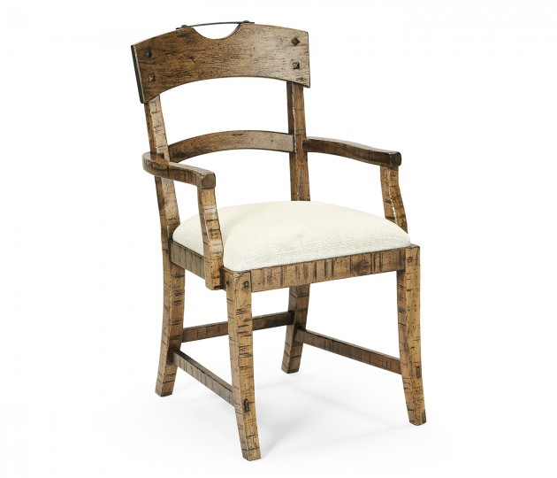 Planked Medium Driftwood Dining Arm Chair, Upholstered in Shambala