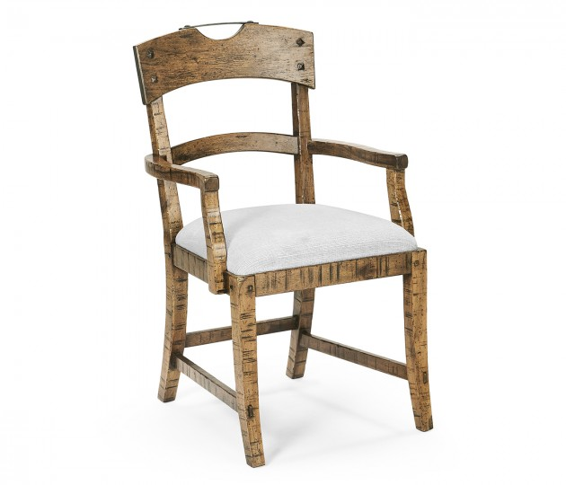 Planked Medium Driftwood Dining Arm Chair, Upholstered in COM