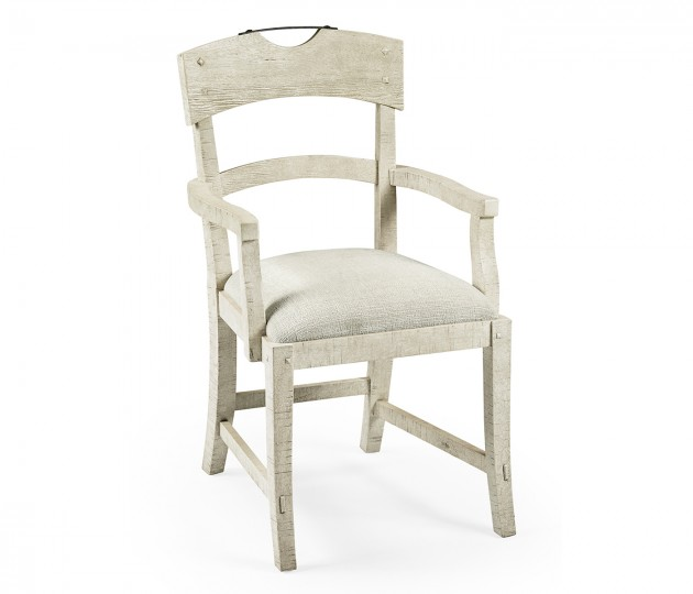 Planked Whitewash Driftwood Dining Arm Chair, Upholstered in Shambala