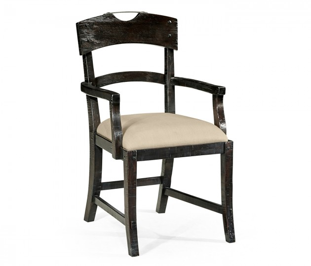 Planked Dark Ale Dining Arm Chair, Upholstered in MAZO