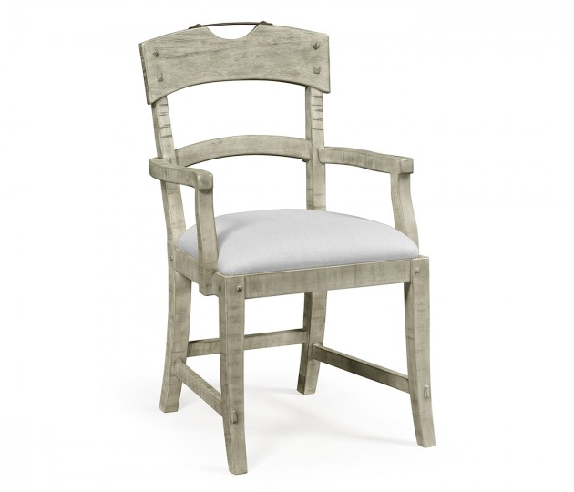 Planked Rustic Grey Armchair, Upholstered in COM