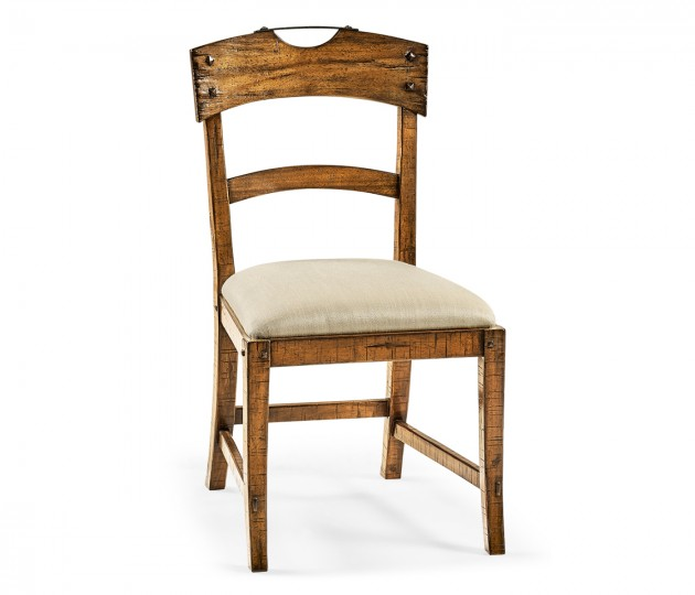 Planked Country Walnut Side Chair, Upholstered in MAZO