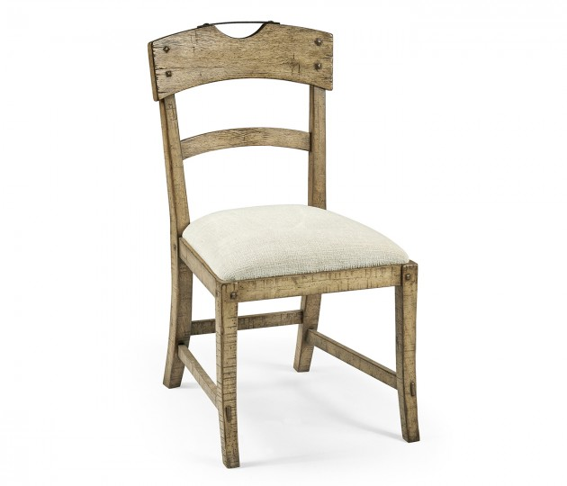 Planked Light Driftwood Dining Side Chair, Upholstered in Shambala