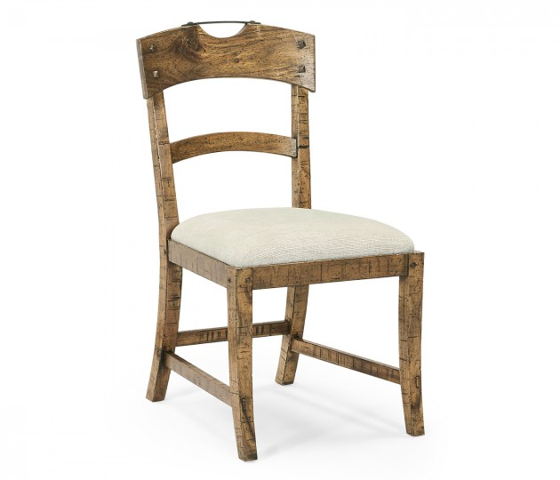 Planked Medium Driftwood Dining Side Chair, Upholstered in Shambala