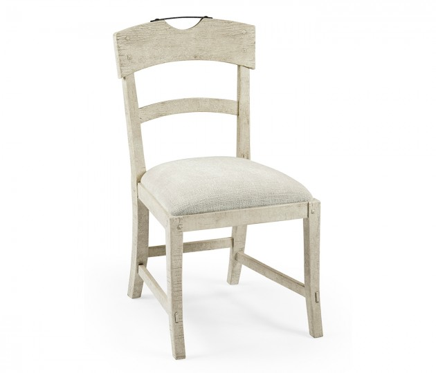 Planked Whitewash Driftwood Dining Side Chair, Upholstered in Shambala