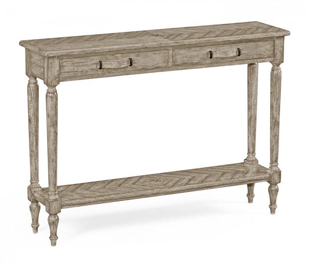 Rustic Grey Parquet Console Table