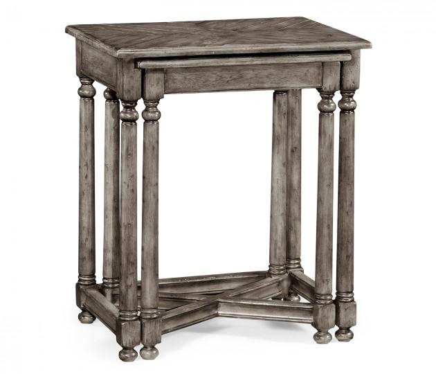 Antique Dark Grey Parquet Nesting Tables with Contrast Inlay