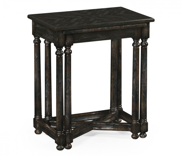 Dark Ale Parquet Nesting Tables with Contrast Inlay