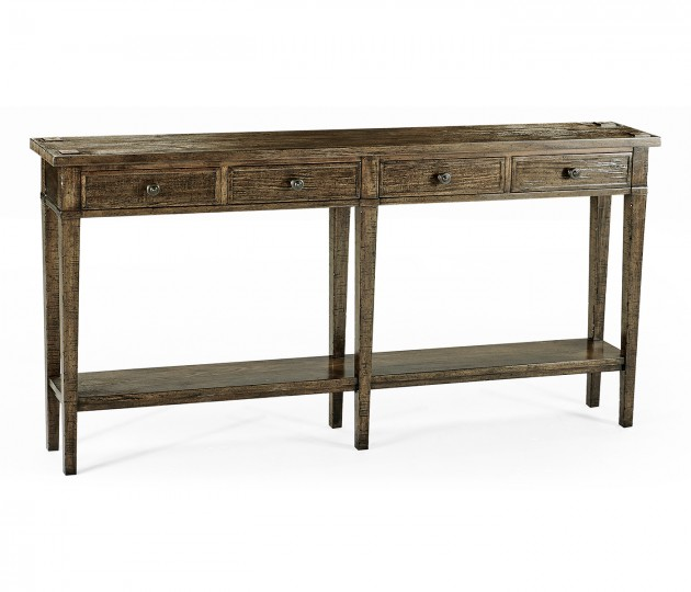Dark Driftwood Four Drawer Console