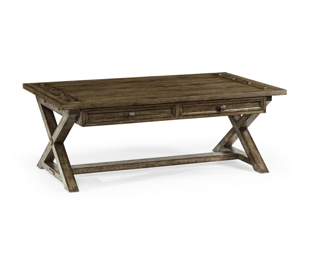 Dark Driftwood Coffee Table with Drawers