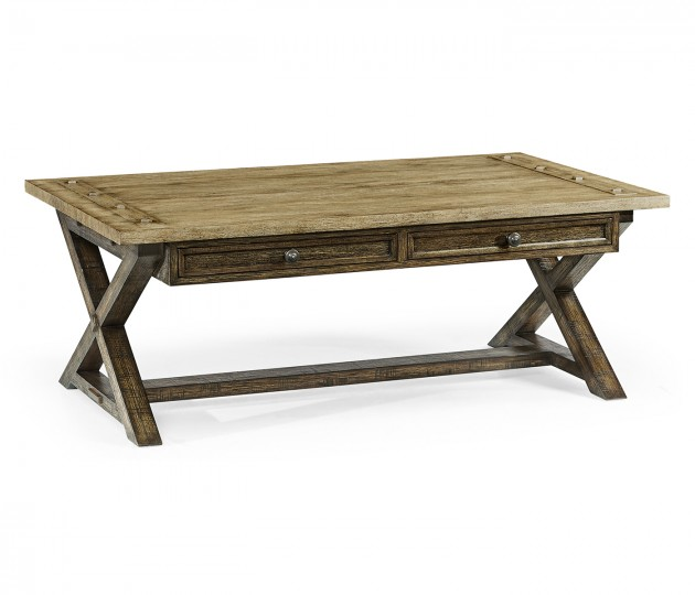 Light & Dark Driftwood Coffee Table with Drawers