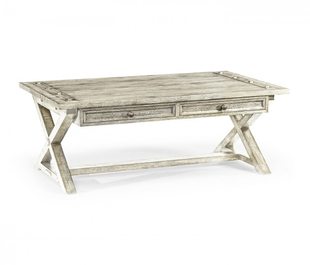 Whitewash Driftwood Coffee Table with Drawers