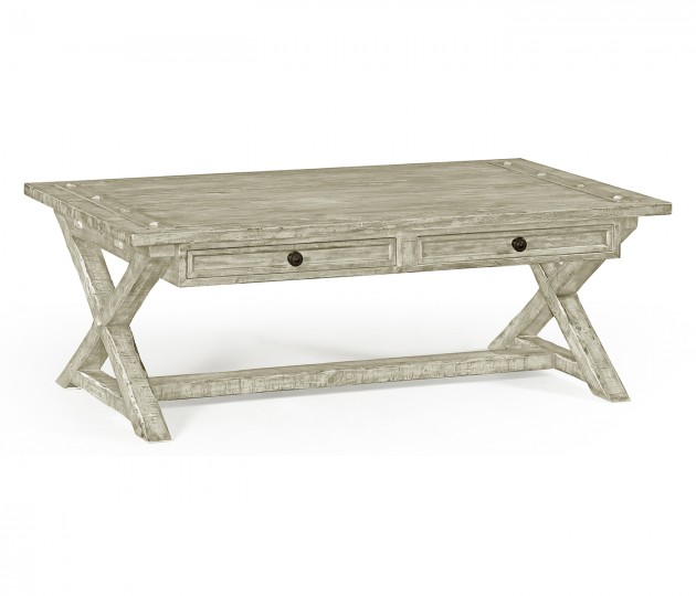 Rustic Grey Coffee Table with Drawers